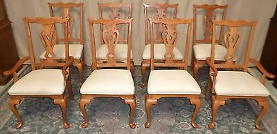 KINCAID CHIPPENDALE DINING CHAIRS Oak Upholstered Seats SET OF 8