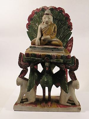 "shlf BURMESE THAI ALABASTER STONE BUDDHA 11"" h -- peacock & rabbit throne, old"