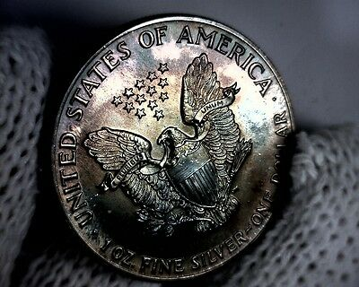 1986 UNC Beautiful Naturally Toned Purples American Silver Eagle Coin .999 1oz