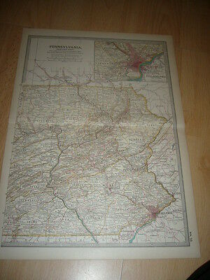 Colored Antique Map Of New Jersey c.1890's inc. Jersey City, Newark, Paterson