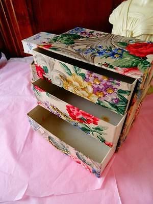 An Exquisite Vintage French Cabbage Rose Fabric 3 Draw Chest.