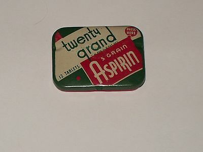 Vintage-Advertising-Medicine-Tin-TWENTY GRAND-Aspirin-Tablets-Paper Insert-Full