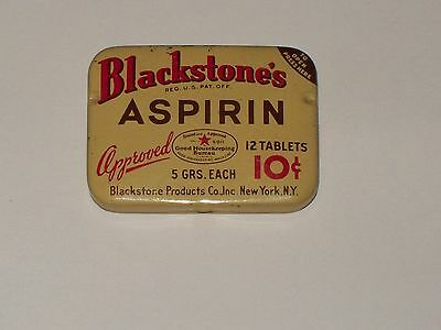 Vintage-Advertising-Medicine-Tin-BLACKSTONE'S-Aspirin-Tablets-Empty-10 cents