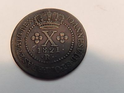 1821 R Portugal; King John The Sixth Copper Coin