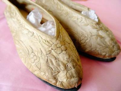 A Wonderful Pair Of Antique Embroidered Chinese Shoes C.1900