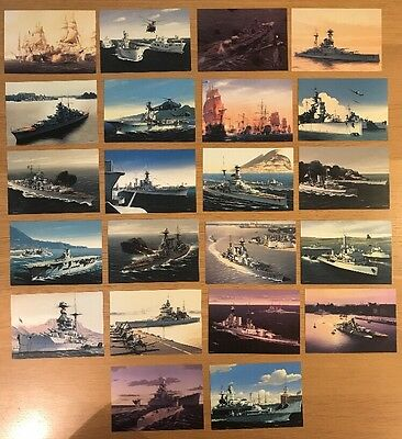 22x MILITARY NAVAL ART POSTCARDS- IVAN BERRYMAN Warships Destroyers Signed
