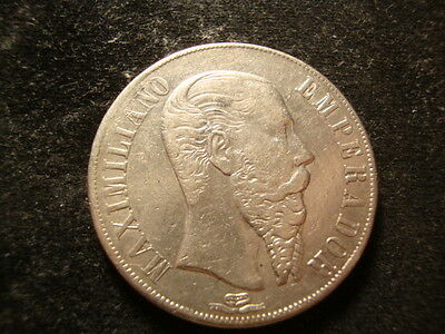1867  XF AU Empire of Maximilian 8 Reales Peso very Nice Coin RNO