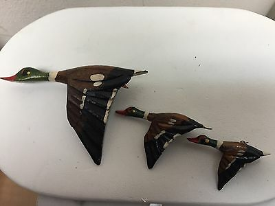 3 Vintage Wooden Ducks Duck Scatter Pin Pins Handmade & Hand Painted