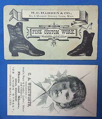 2 1880s BUTTON BOOTS & SHOES Victorian Advertising Trade Card LYNN Mass
