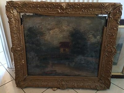 Antique Large Picture Frame Gilded Gesso On Wood Oil Painting Unsigned