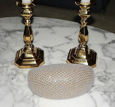 GREY with GOLD SPARKLE SUNGLASSES EYEGLASS READER HARD CLAM SHELL CASE US SELLER