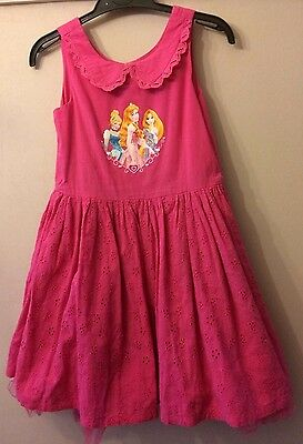 Girls Pink Disney Princess Broderie Anglais Dress Age 7