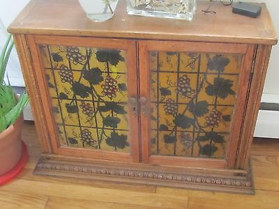 ANTIQUE VINTAGE Stained Glass Oak Cabinet Hutch Top Doors Grapevine Design