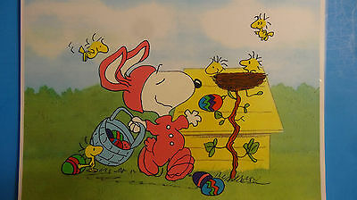 Hand Painted Peanuts Snoopy The Easter Beagle Woodstock Animation Cel Cell Art