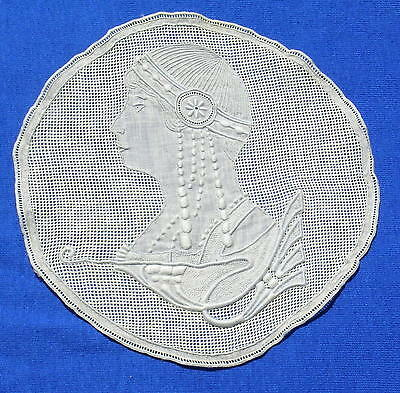 Rare Antique Figural Appenzel Embroidered Lace Doily Coaster Medallion