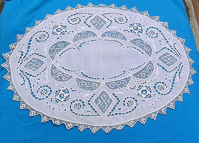 Antique Italian Embroidered Needle Lace Filet Oval Doily