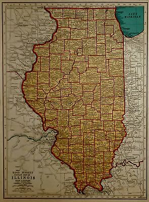 L@@K! Vintage 1941 World War II Atlas Map of Illinois & Indiana WWII War Map OLD