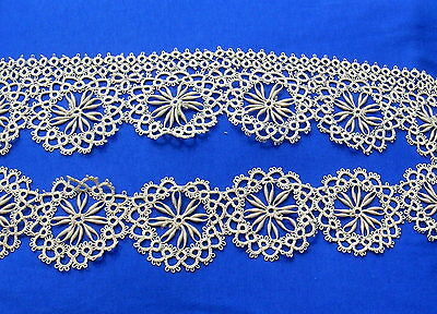 Unusual Vintage Tatted Tatting Lace Trim with Tape