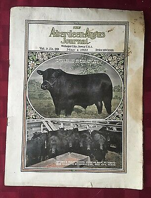 The Aberdeen-Angus Journal Vol. 3 No. 20, May 1, 1922 RARE VINTAGE FARM