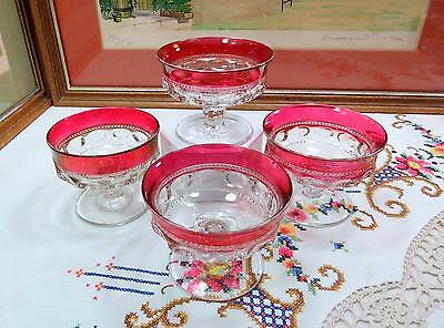 "4 Pc Vintage Tiffin Glass Kings Crown Ruby Stain 3 1/8"" Champagne/tall Sherbets"