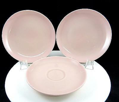 """Russel Wright Iroquois 3 Pc Casual Pink 6 3/8"""" Bread & Butter Plates & Saucer"""