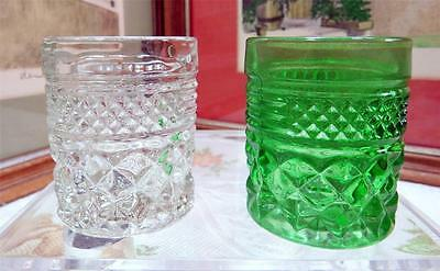 """2 Anchor Hocking Wexford 2 1/2"""" Shot Glasses / Toothpick Holders 1967-1998"""