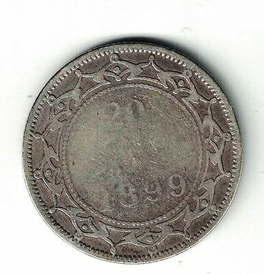 Newfoundland 1899 Large 9 20 Cents Queen Victoria Canadian Sterling Silver Coin