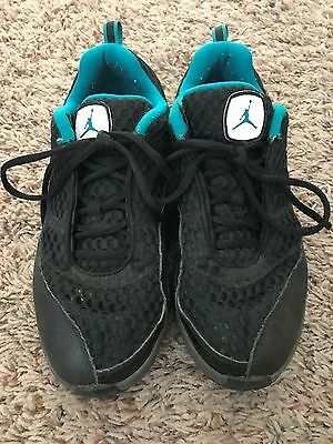 Black and Turquoise Youth Jordan Athletic Shoes Size 2.5y