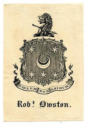 Robert Droston Antique Bookplate Engraving Etching Lion Crest 1700s
