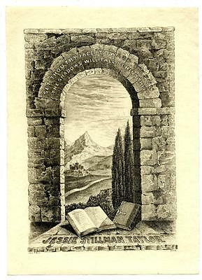 Jessie Stillman Taylor Antique Bookplate Engraving Etching Signed