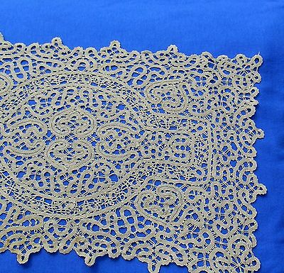 Antique Hand Made Bobbin Lace Placemat Doily
