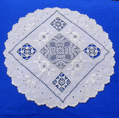 Antique Doily Embroidery  Embroidered  Reticella Filet  Lace