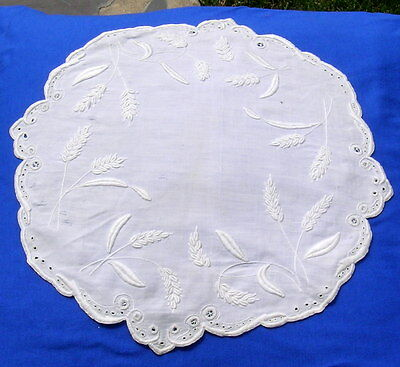 Antique Doily White  Embroidery Embroidered   with Ears Lace
