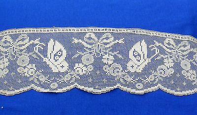 Antique Figural Wide Handmade Filet Lace Trim