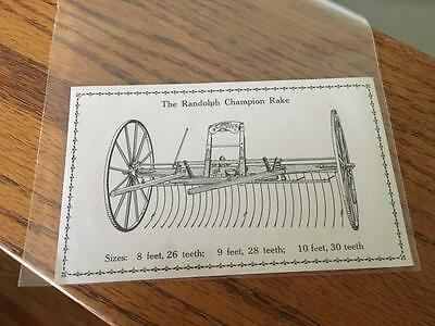 Trade Card Randolph Champion Rake Agriculture Sargent Osgood Roundy Co VT