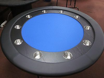 "58"" Round Professional Poker Table + Timber Track +  Foldable  Leg [Blue Sf]"