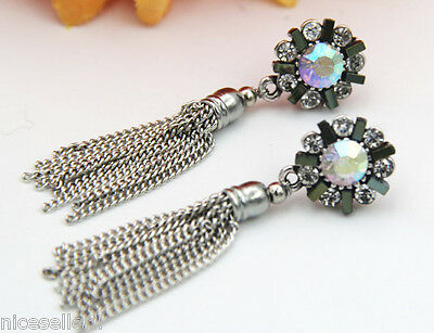 BOHO Fashion Multi Crystal Ear Drop Dangle Stud long Ancient Silver Earrings 269