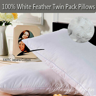 100% White Duck Feather Twin Pack Standard Pillow with Pure Cotton Cover 48x73cm