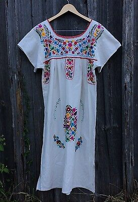 Embroidered Mexican Cotton Dress Floral Hand Embroidery Mexico M L