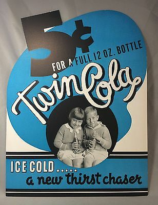 Original Vintage TWIN COLA SODA 5 Cent Advertising Store Display Sign