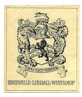 Grenville Lindall Winthrop Antique Bookplate Engraving Etching John's Descendant