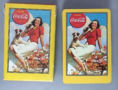 1943 Original Vintage 52 + Joker COCA COLA Soda PLAYING CARDS in BOX Girl & Dog