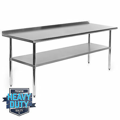 "Stainless Steel Commercial Kitchen Work Prep Table with Backsplash - 24"" x 72"""