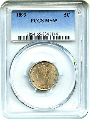1893 5c PCGS MS65 - Gem Type Coin - Liberty V Nickel - Gem Type Coin