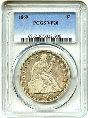 1869 $1 PCGS VF20 - Perfect Type Coin - Liberty Seated Dollar