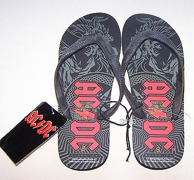 ACDC Rock Mens Back Ice Printed Thongs Size 7 New