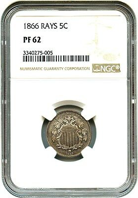 1866 5c NGC PR 62 (With Rays) Great Type Coin - Shield Nickel - Great Type Coin
