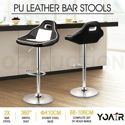 2x New PU Leather Swivel Bar Stool Gas Lift Kitchen Dining Chair Racing Style
