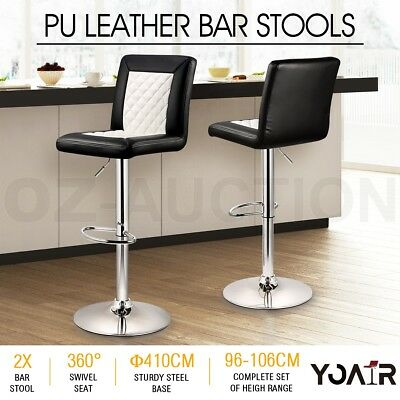 2x New Elegant PU Leather Bar Stool Gas Lift Kitchen Dining Chair - Churchill