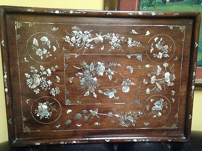 Antique 19th Mother Of Pearl chinese Wood Opium Tray Superb